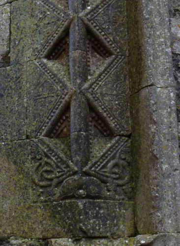 Viking art motifs, seen here at Annaghdown Cathedral, County Galway, Ireland.