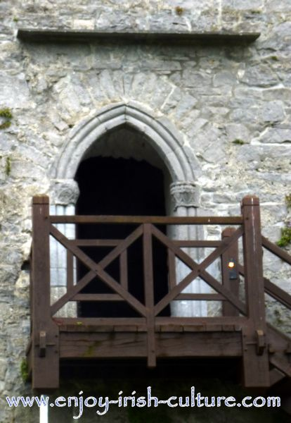 The high up entrance door- accessible through a wooden stairs at Athenry Castle in County Galway, Ireland.