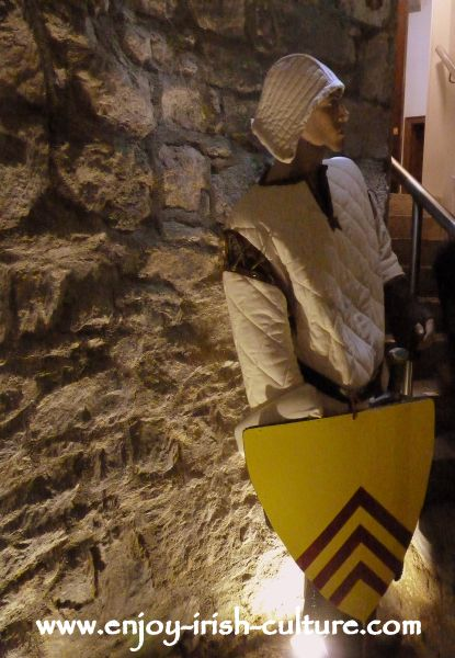 Model of a Norman knight displayed in the medieval room of the castle.