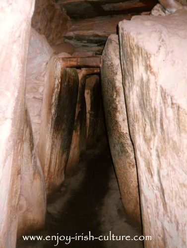 The narrow passage at ancient Ireland's Newgrange megalithic tomb in County Meath, Ireland.