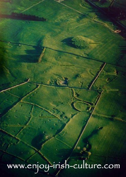 Rathcroghan Royal site, County Roscommon, Ireland seen from the air.