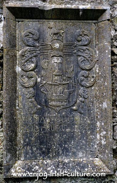 Memorial plaque at the medieval Ross Abbey, County Galway, Ireland.