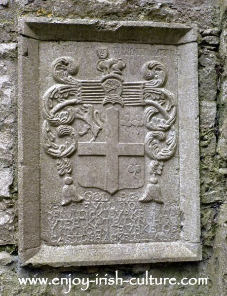 Family memorial plaque at  Errilly Friary.Ross Abbey, County Galway, memorial plaque
