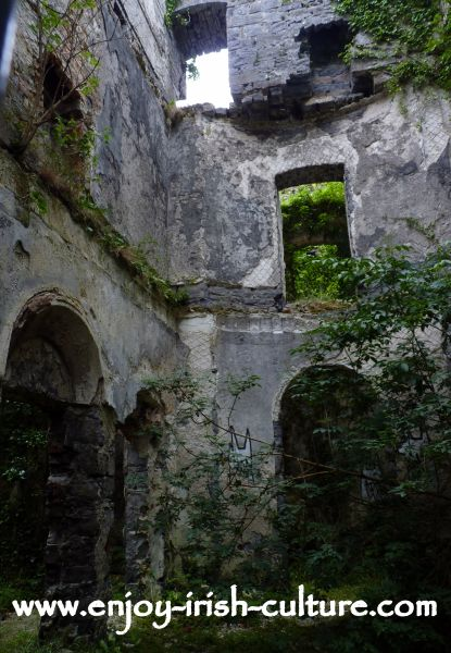 The ruin of Moore Hall, County Mayo, Ireland, an Irish big house closely connected to Irish history over the centuries.