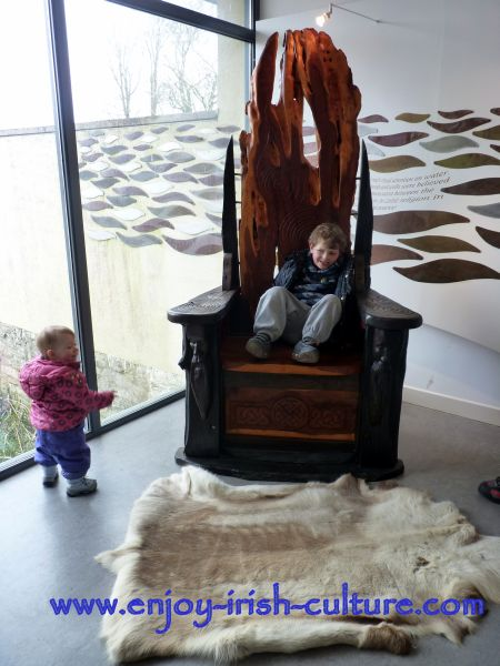 Artists' impression of an ancient Irish royal throne at the visitor centre.