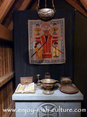 Replica of Saint Ciarans first church at the museum at Clonmacnoise, County Offaly, which is the most important medieval Irish monastery.