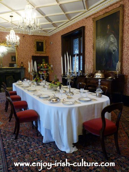 The fashionable country mansions' dining room of the 1800's at Kilkenny Castle, Ireland.