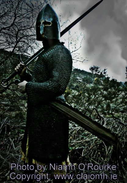Lough Henny galloglaigh warrior of medieval Ireland carrying a claymore (extra long sword).