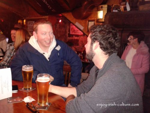 Irish customs, having a pint and a chat, that's the spirit!
