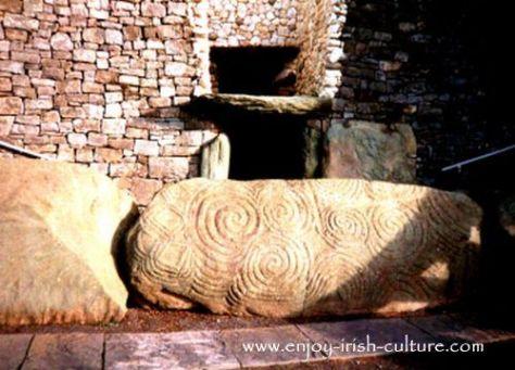 Entrance into ancient Ireland's Newgrange tomb in County Meath, Ireland.