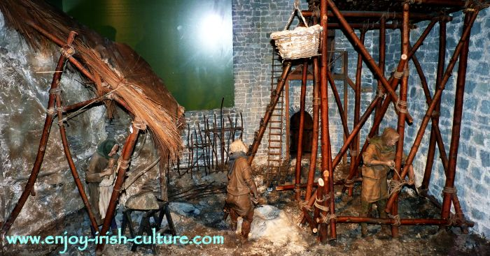 Model of a construction scaffold for a medieval castle on display at Limerick Castle, Ireland.