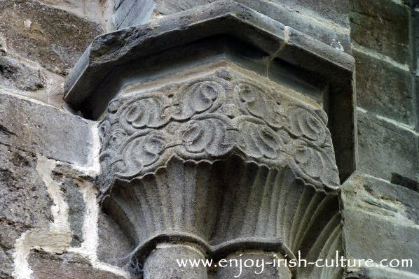 Abbey at Boyle, County Roscommon, Ireland, decorative stone carvings.