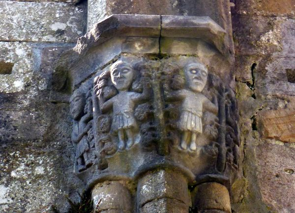 Abbey at Boyle, County Roscommon, Ireland, carvings of medieval monks with long hair showing the monastery hairstyle (tonsure) of the time.