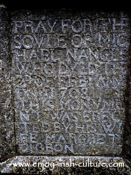 Family grave slab at Ross Abbey, Headford, County Galway. This is the best preserved Franciscan friary in Ireland.