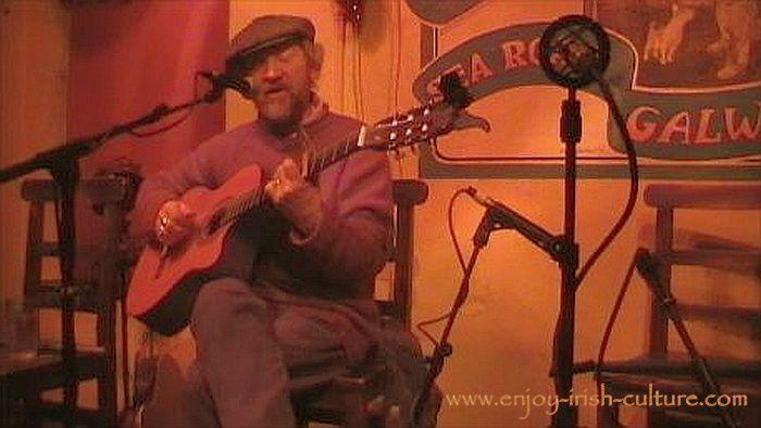 Irish song performmer Ger Carthy at the Crane Bar, Galway, Ireland.