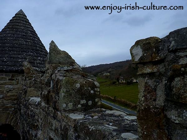 The battlements on top of the bawn wall at Parke's Castle County Leitrim, Ireland.