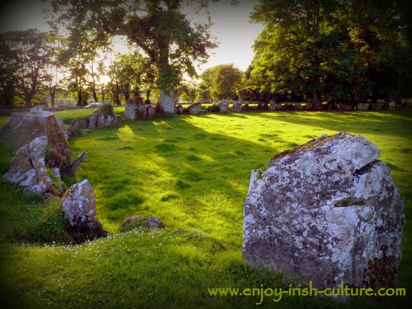 Meet ancient Ireland at Lough Gur in County Limerick, Ireland- the country's largest stone circle- Grange stone circle at sunset.