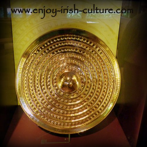 Meet ancient Ireland at Lough Gur in County Limerick, Ireland, replica of the Lough Gur bronze age shield.