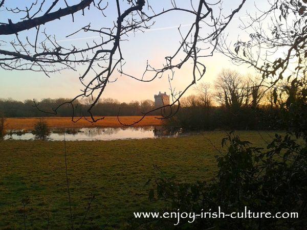 Annaghdown, Irish Castle, seen from the road, autumn