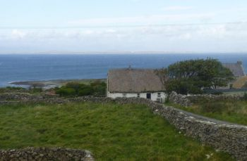 Aran Islands, Inis Mór, old style traditional thatched cottage, still inhabited in 2012!