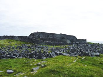 Dun Aengus Fort on Inis Mór seen through a wet lens.
