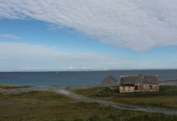 Aran Islands, Inisheer, landscape with old cottage.