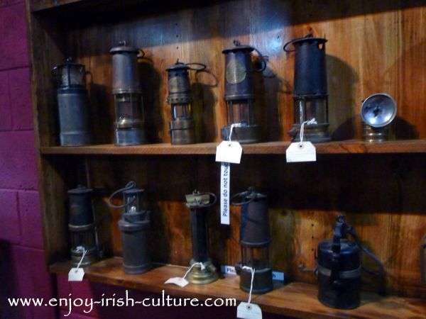 Antique miners lamps in the museum at the Arigna Mines County Roscommon, Ireland.