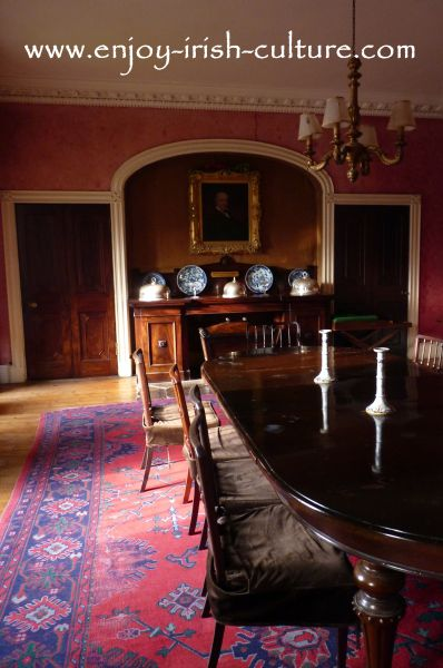 The dining room at Strokestown Park House, County Roscommon, Ireland.