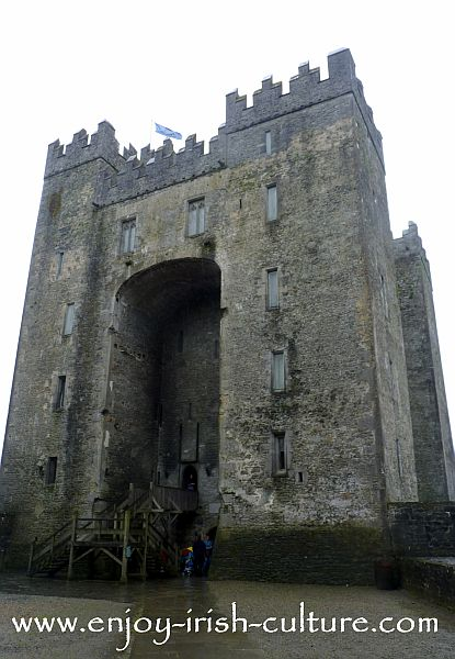 The magnificent keep of Bunratty Castle, County Clare, Ireland, from close up. This is one of the best castle visits in Ireland!