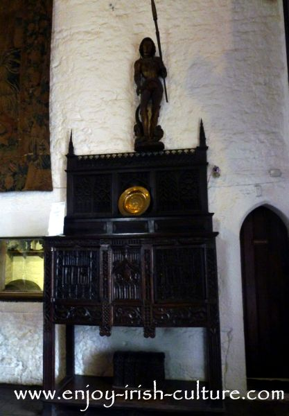 Precious medieval furniture from the Hunt collection seen at Bunratty Castle,  County Clare, Ireland.