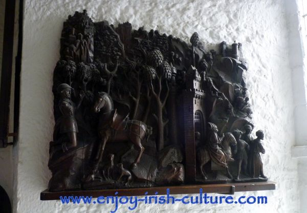 Medieval woodcarving exhibited at one of the best medieval Irish castles- Bunratty Castle, County Clare.