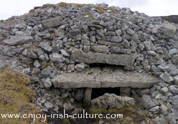 Cairn with roofbox at the prehistoric Carrowkeel complex, County Sligo, Ireland.