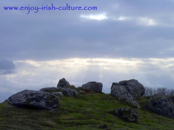 Illuminated rocks at he ancient site of Carrowmore, County Sligo, Ireland.