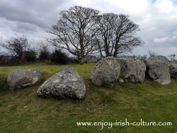 Stone circle at Carrowmore in County Sligo, Ireland, one of ancient Ireland's premiere sites.