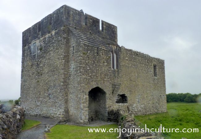 The Abbots' Castle at Kilmmacduagh monastic complex, County Galway, Ireland.