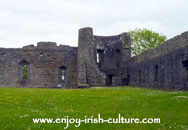 This is the bawn wall with remnants of a watch tower at Athenry Castle in County Galway, Ireland- one of the best preserved Irish castles.