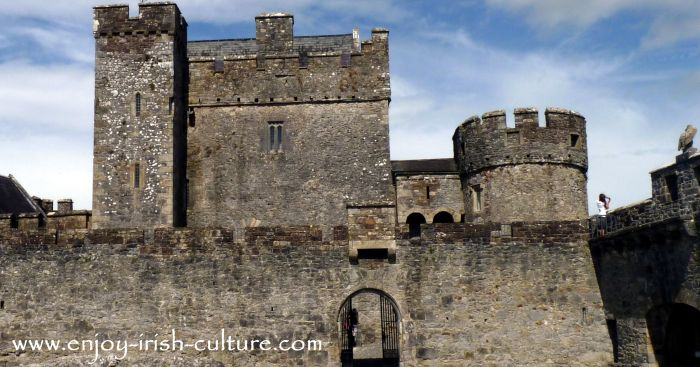 Inside the curatin wall of Cahir Castle, County Tipperary, Ireland.