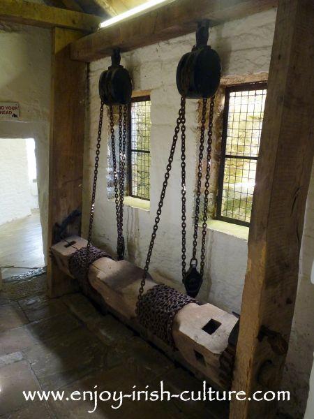 Portcullis mechanism at Cahir Castle, County Tipperary, Ireland.