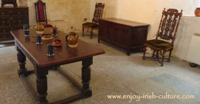 Renaissance furniture at the Ormond Castle, Carrick on Suir, Tipperary, Ireland,