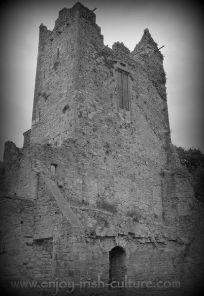 A fortified tower of the medieval part of the Ormond Castle, at Carric on Suir, County Tipperary, Ireland.