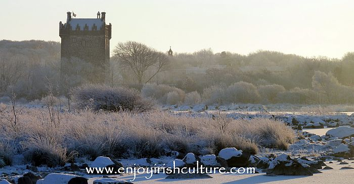 Annaghdown Castle, County Galway, Ireland, in winter.