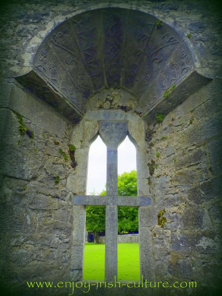 Mullioned window at Aughnanure Castle, Oughterrard, County Galway, one of the best medieval castles in Ireland.