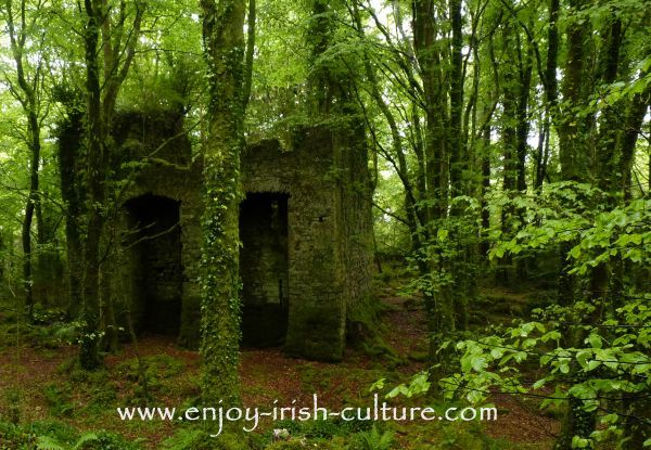 The ruin of Ballykine Castle near Clonbur, County Mayo, Ireland.