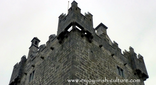 The battlements at Annaghdown Castle, County Galway, Ireland.