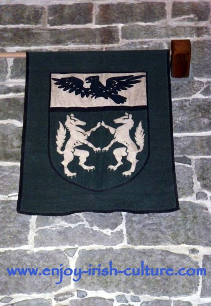 Claregalway Castle, County Galway, Ireland- family crest of the O'Donoghue family who are the present owners.