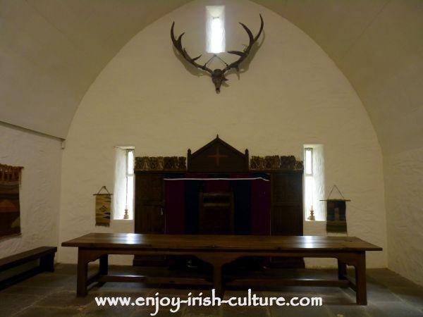 Ground floor vault at Craggaunowen Castle, County Clare, Ireland.