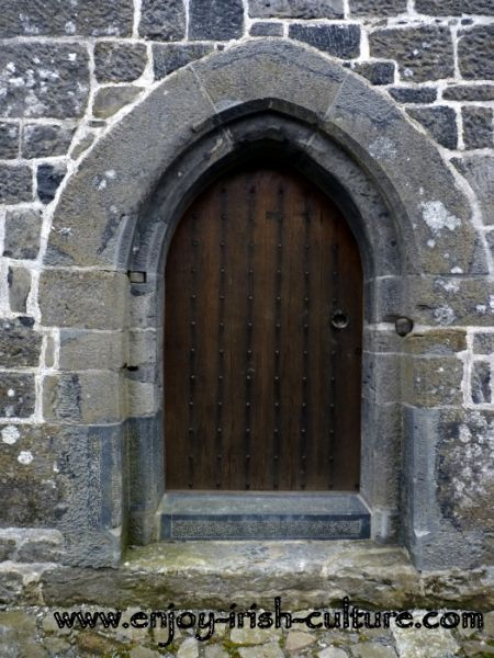 Entrance door at Annaghdown Castle, County Galway, Ireland.