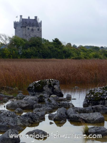 Norman Tower House Castle At Annaghdown, County Galway, Ireland.