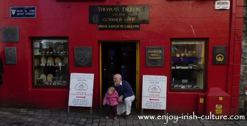 Shop front of Dillon's Jewellers, the oldest maker of the ring, Quay Street, Galway, Ireland.