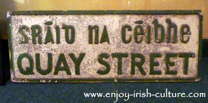 Antique street sign in the ring museum at Dillon's Jewellers on Quay Street, Galway, Ireland.